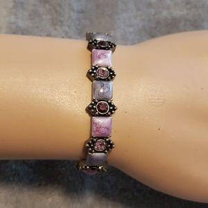 Creamy purple & rhinestone stretch bracelet